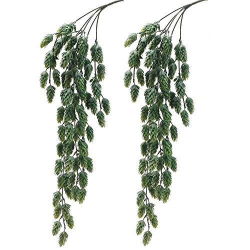 2 PCS Artificial Hops Hanging Bush Faux Hops Fake Hanging Vine Hops Artificial Hanging Plants for Party Front Porch Flower Decor