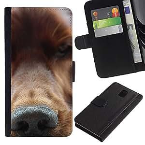 eJoy---La carpeta del tirón la caja de cuero de alta calidad de la PU Caso protector - Samsung Galaxy Note 3 III - --Golden Retriever Nose Dog Canine