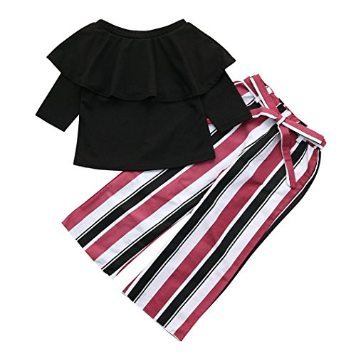 Iuhan® Kids Girl Off-Shoulder Top + Long Striped Flare Pants Ruffled Clothes Set (5-6Years, Black)