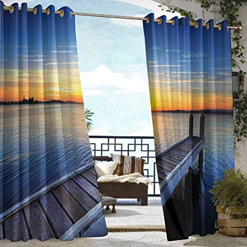 DILITECK Home Patio Outdoor Curtain Lake Tranquil Summer View of Setting Sun on The Horizon of Lake Macquarie in Belmont Waterproof Patio Door Panel W96 xL84 Blue Orange Umber