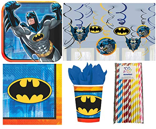 (Batman Birthday Party Supplies Kit, Includes Plates, Napkins, Cups, Hanging Swirls and ElevenPlus2)
