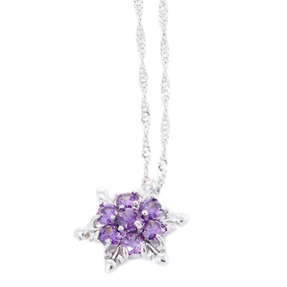 TREESTAR glänzend Schneeflocke Zirkon Halskette Lady Kristall glänzend Weihnachten Anhänger Halskette Elegant Lady Schmuck Halskette 1, Legierung, Violett, Z