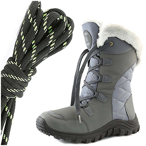DailyShoes Womens Comfort Round Toe Mid Calf Hiking Outdoor Ankle High Eskimo Winter Fur Snow Boots, Black Lime Space Gray