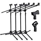 GHP 4-Pcs 58''-37'' Adjustable Height 30'' Boom Length Microphone Stands with 2 Clips