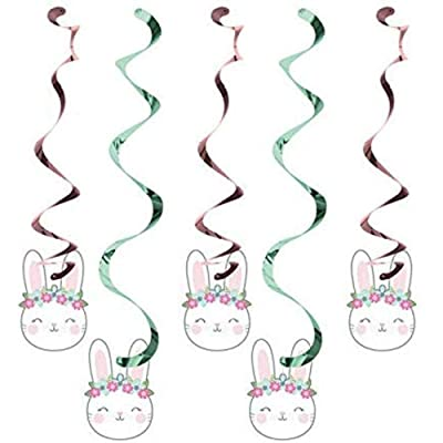 Creative Converting Party Supplies, Bunny Party Dizzy Danglers, Danglers, Multicolor, Multi Size, 5Ct, 0.03x3.4x39inc.: Toys & Games