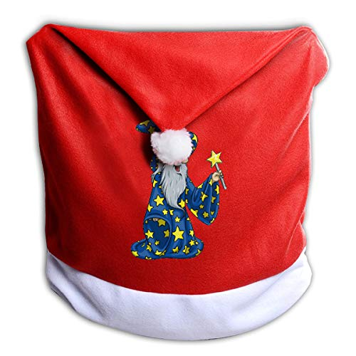 FUNMAX Halloween Wizard Animated Bearded Man Non-Woven Xmas Christmas Themed Dinner Chair Cap Hat Covers Set Ornaments Backers Protector for Seat Slipcovers Wraps Coverings Decorations -