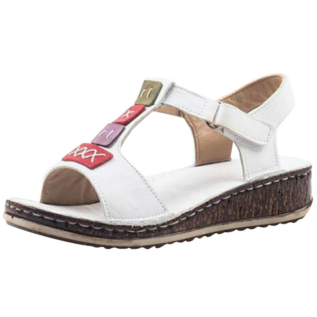 Fastbot Women's Summer Sandals Open Toe Casual Comfort Women Platform Strap Sandal Roman Wedges Peep Toe White