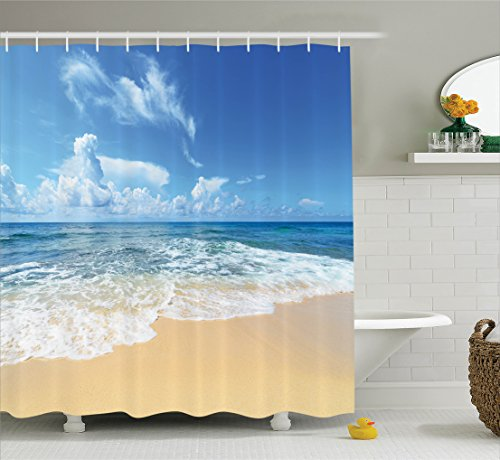 Ambesonne Ocean Decor Collection, Waves and Golden Paradise Beach with Bright Sky Sun Endless Summer Sea Coast View Print, Polyester Fabric Bathroom Shower Curtain Set with Hooks, Cream Blue -