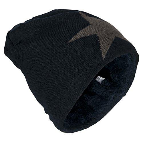 Danaest warme Beanie Mütze mit Stern und warmen Innenfutter, Unisex ( No:206), Farbe:Schwarz