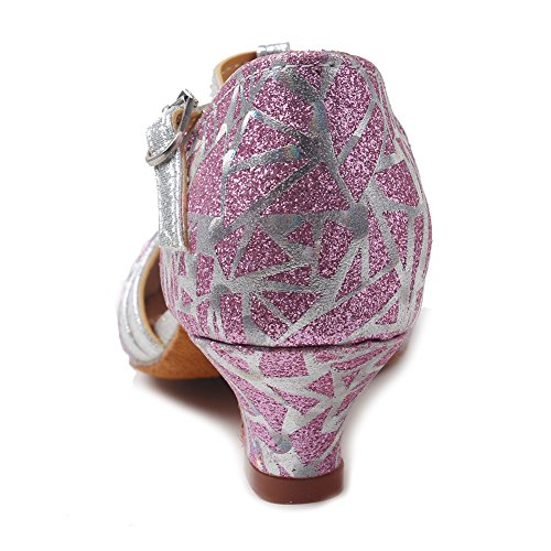 Roymall Donna Raso Latino Scarpe Da Ballo Sala Da Ballo Tango Performance Scarpe Modello Xgg Pink-2