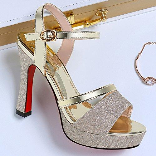 Slingback Sandalen Pump hochhackige Sandalen Party Pump Peep Toe Damen Kleid Pumps Hochzeit Damen Schuhe Gold Knöchelriemen U1nIR