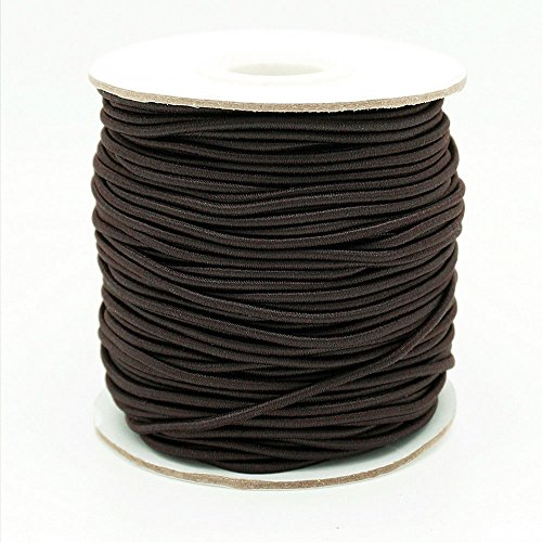 DARK BROWN 2mm Nylon Coated Round Elastic Cord Stretch Beading Mala String - 40yards Spool