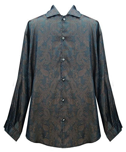 Victorian Historical Steampunk Gothic Pirate Pattern Men's Shirt (Teal/Brown, L) (Brocade Poly)