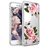iPhone 7 Plus Case,iPhone 8 Plus Case,Spevert Floral Pink Rose Pattern Clear Design Transparent Hard Slim Case with TPU Bumper Protective Case Cover for iPhone 7 Plus/iPhone 8 Plus 5.5 inhces