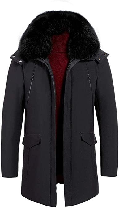 Frieed Mens Warm Slim Thicken Hooded Buttons Velvet Down Coat Parka Jacket