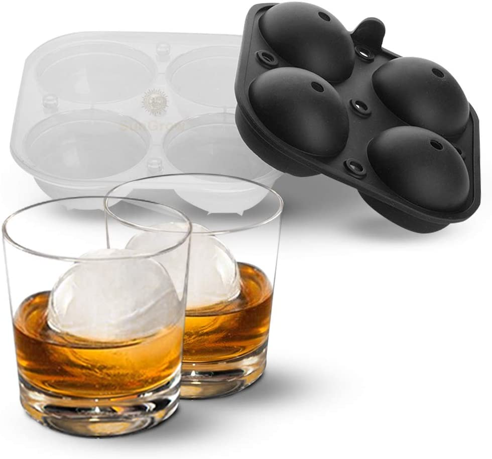 Ice Ball Mold Tray, Gourmet Ice Sphere Maker, Ideal for Bourbon, Scotch, and Rye, Easily Infuse, Creative Decoration for Punch Bowl, Get Perfect Round Shape for Your Drink, 1 tray with 4 Slots