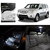 led package - Partsam Honda Pilot 2009-2015 White Interior LED Package + License Plate Lights (17 Pieces)