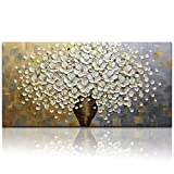 Desihum - Long Wall Art 3D floral Oil Painting White Flowers Wall Art On Canvas Handing Painting Picture Square Artwork Ready To hang (20x40inch)