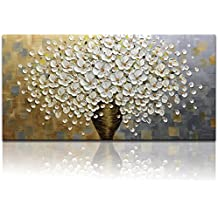 Desihum Hand Painted Oil Painting On Canvas Texture Palette Knife White Flowers Picture Modern Home Decor Wall Art Large Suqare 3D Flowers Artwork(24x48inch)