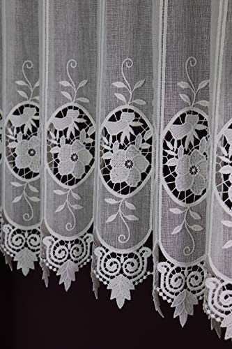 Lamellenpanneau Kurzstore Landhaus Spitze Nostalgie Voile H/öhe 35 cm Breite der Gardine durch St/ückzahl in 15 cm Schritten w/ählbar wei/ß Gustav Gerster Scheibengardine nach Ma/ß Stick