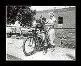 8 x 10 All Wood Framed Photo Original 1934 Harley Davidson Motorcycle Racer.