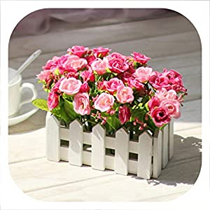 Memoirs- 1 Set Wooden Fence Vase + Flower Rose and Daisy Silk Artificial Flowers Home Decoration Garden Decor Birthday Gift,F 49