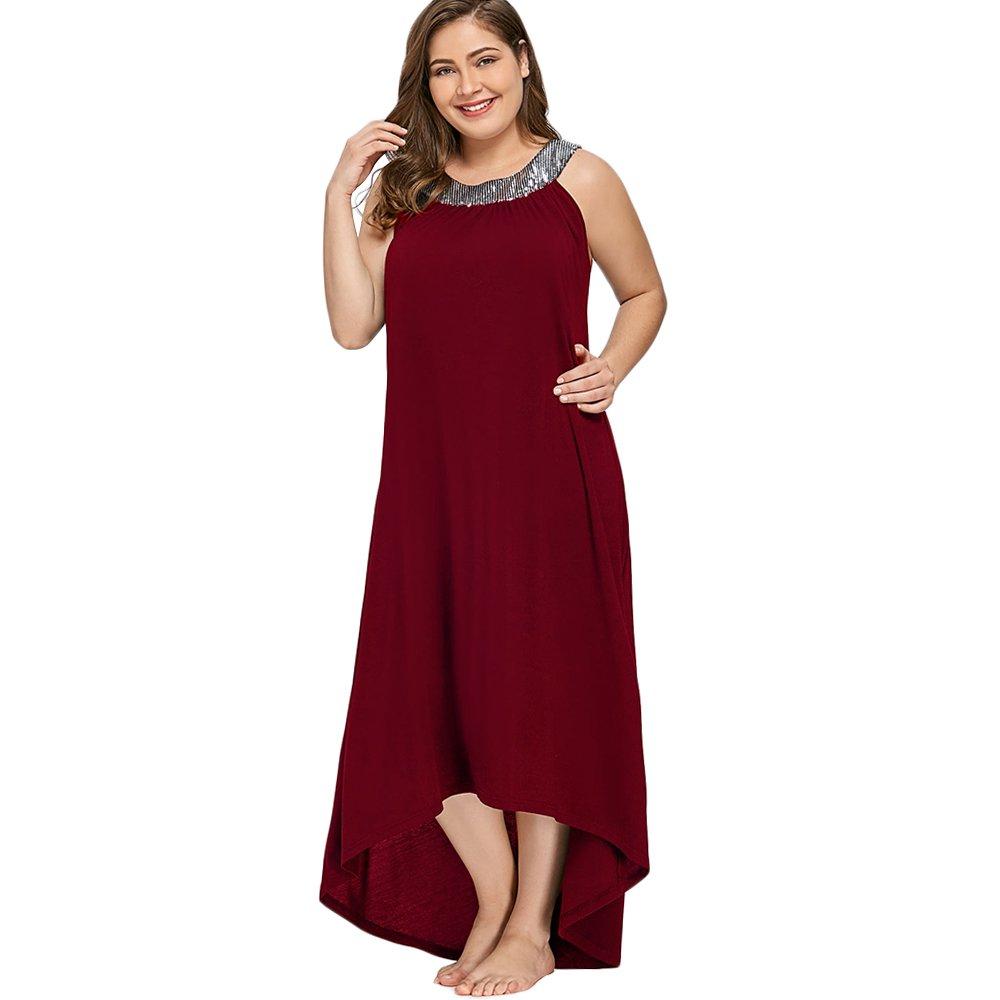 5XL Rosegal Vestido Mujer Elegante Cuello Redondo con Lentejuelas Brillantes Vestido sin Mangas Desigual Largo de Tallas Grandes XL