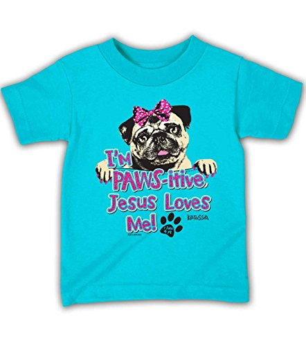 Pawsitive Kids T-Shirt,Small, Turquoise