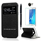 J5 Case Cover ( 2015 Model ) - Lanveni PU Leather View Window Protective Flip Case with Full-Edged TPU Protection Cover [Metal Pop Element] for Samsung Galaxy J5 with 1 Dust Plug + 1 Stylus Pen + 1 Screen Protector( Not for 2st Gen. 2016 Model ) - Black