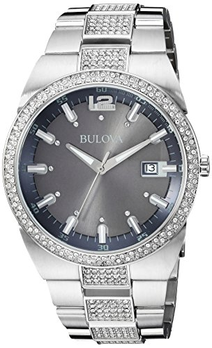 Bulova Men's 96B221 Crystal Analog Display Japanese Quartz Silver Watch