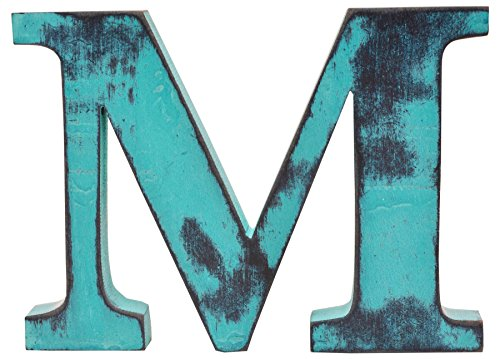 Shabby Chic Vintage Large 11 cm Wooden Letters Hand Finished Alphabets Free-Standing Or Wall Mounted Decor for Weddings Baby Names Signs Unique Personalised Gift. (Teal, Letter M)