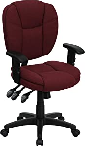 Flash Furniture Mid-Back Burgundy Fabric Multifunction Swivel Ergonomic Task Office Chair with Pillow Top Cushioning and Arms