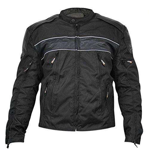 Jacket Mesh Leather Tex (Xelement XS1969 Mens Black Tri-Tex/Leather Jacket - Large)