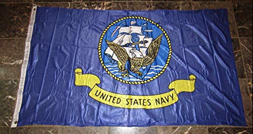 ALBATROS 3 ft x 5 ft U.S. Navy Ship Emblem Seal Poly Nylon Knitted Flag with Outrigger Clips for Home and Parades, Official Party, All Weather Indoors Outdoors