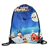 Santa Claus Snowman Reindeer For Winter Christmas Drawstring Bags Portable Backpack Yoga Runner Daypack