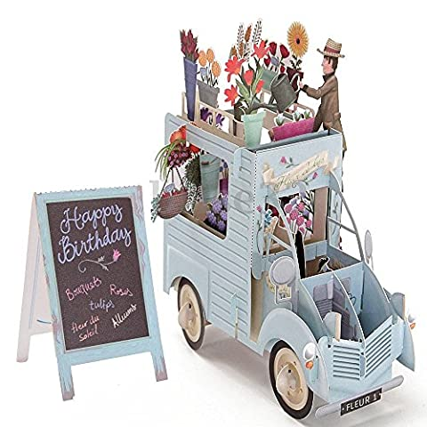 3D Pop Up Greeting Cards Car of Flowers Valentine Birthday Easter Invitations (Walmart Snowflake Teddy)