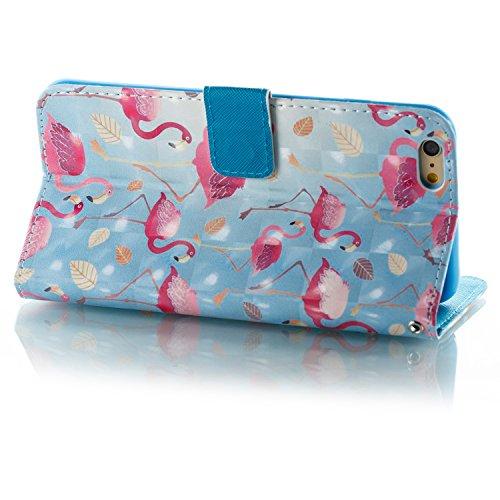 Lotuslnn iPhone 6plus / 6S plus caja del teléfono, caja de cuero de la PU cubierta de cierre magnético cubierta con Kickstand y ranuras para tarjetas de bolsillo en efectivo para iPhone 6plus / 6S plu Flamingo blue