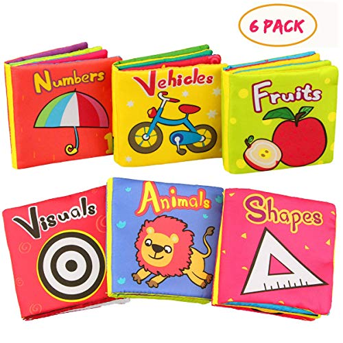 Aitey Baby Books for 6 to 12 Months, Baby Toys Soft Cloth Crinkle Books Educational Toys for 1 Year Old Boys and Girls Infants Pack of 6