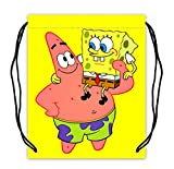 Spongebob Squarepants and Patric Print Polyester Fabric Basketball Drawstring Bags Drawstring Tote