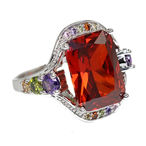 New Luxury Silver Plated Cubic Zirconia Crystal Ring, Gift for Her, Square Shaped, Big Stone Ring (Square Shaped Stones Ring)