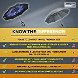 Inverted Umbrella with Reverse Folding Self Standing Design, Large 8 Panel Double Layer Windproof, UV Protection, Hands Free C-Hook Handle, Drip Free Travel Sized (Rose Gold)