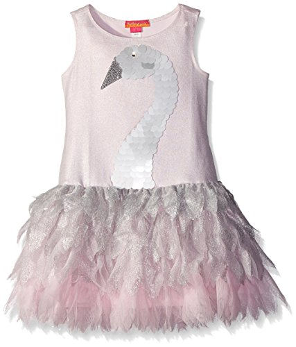 Kate Mack Little Girls' Swan Princess Net Petal Dress, Silver, 6