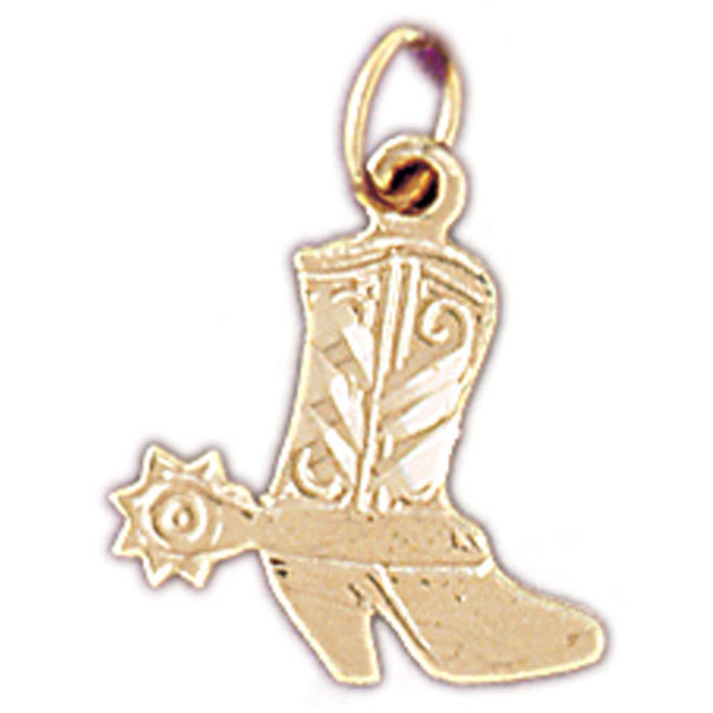 14K Yellow Gold Cowboy Boots Pendant Necklace - 18 mm