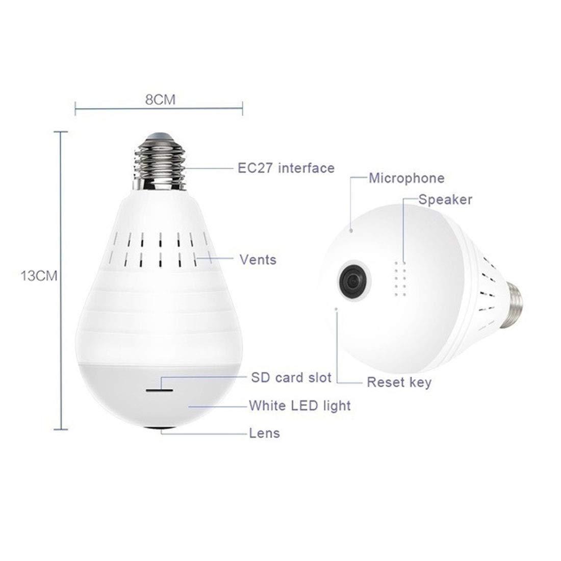 C/ámara wifi Luz LED antirrobo de 360 grados 960P Inal/ámbrico Panor/ámico Seguridad para el hogar WiFi CCTV L/ámpara de bulbo de ojo de pez C/ámara IP-960P无卡