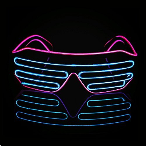 LED Light Up Glasses Sound Activated Shutter EL Wire Neon Glasses for Halloween Disco Bar Glowing Party Mask Decor ( Pink Frame + Blue ) (Led Bar Glasses)