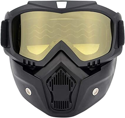Motorcycle Helmet Riding Goggles Glasses With Removable Face Mask,Detachable Fog-proof Warm Goggles Mouth Filter Adjustable Non-slip Strap Vintage Bullet Fight Motocross