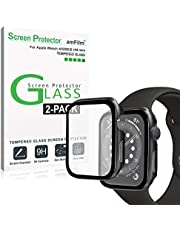 amFilm (2 Pack) Case and Screen Protector for Apple Watch Series 6 (44mm) - Protective Cover and Tempered Glass Film Compatible with iWatch Series 6, 5, 4, and SE