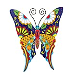 Collections Etc Colorful Metal Mexican Talavera Style Garden Wall Art, Butterfly