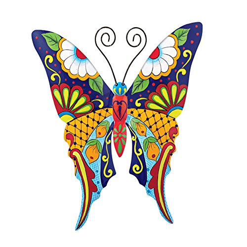 Collections Etc Colorful Metal Mexican Talavera Style Garden Wall Art, Butterfly Butterfly Metal Garden