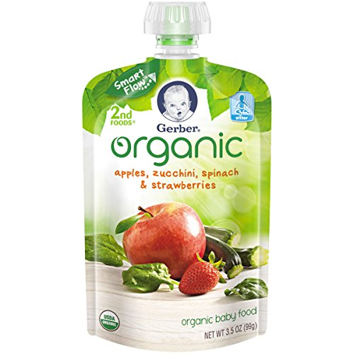 Gerber Organic 2nd Foods Baby Food Apple, Zuchini, Spinach and Strawberry Pouch, 12 Count (Organic 2nd Foods Apple)